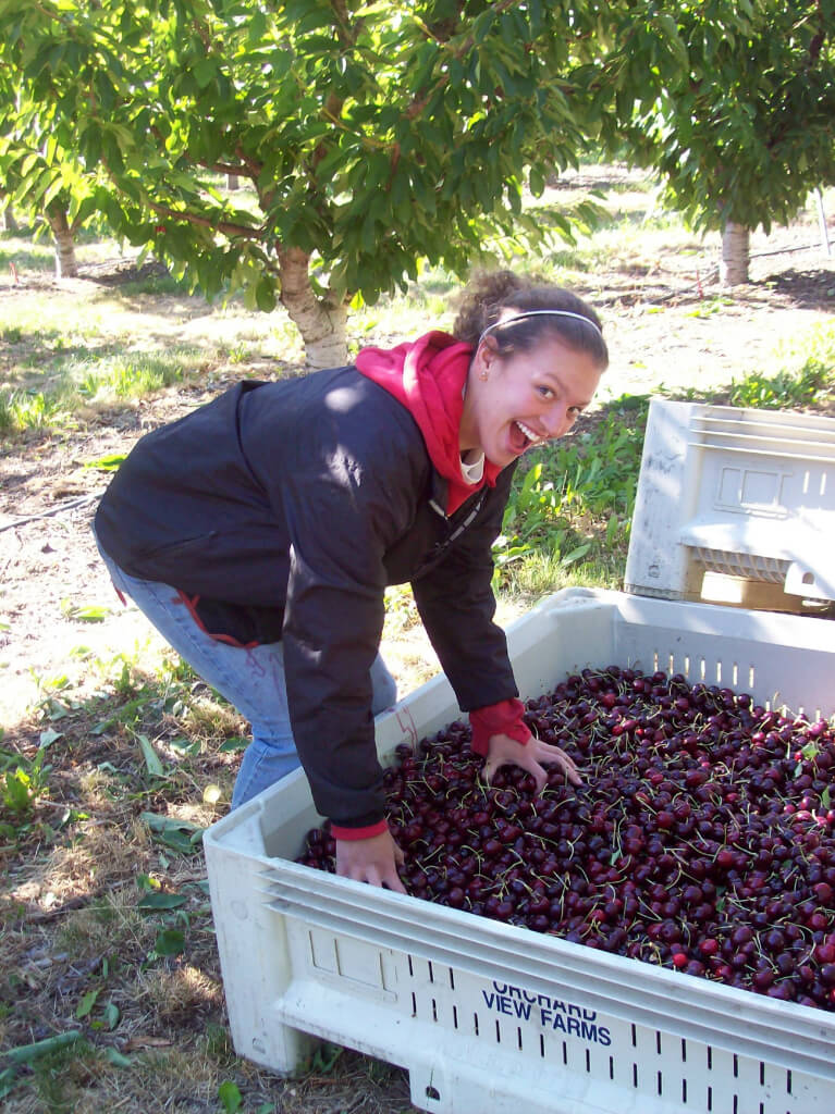 Andrea checking on the quality of the fruit